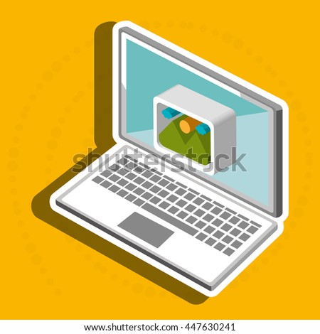 laptop isometric  isolated icon design, vector illustration  graphic