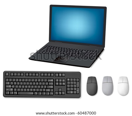 Laptop, keyboard and mouse. Illustration for your design project. Vector - stock vector