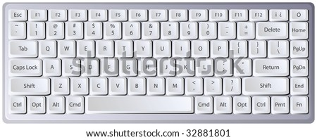 Laptop keyboard with letters/characters on separate layer for easy manipulation - stock vector