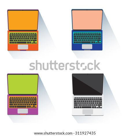 Laptop notebook computer object colorful icons - stock vector