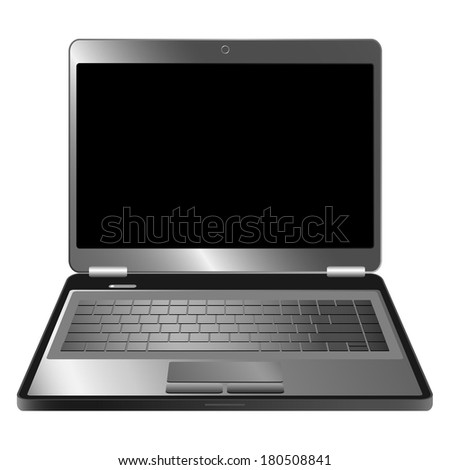 Laptop on white background.