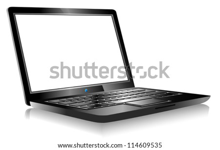 Laptop PC Computer on white background - 3D Laptop with space for your message - stock vector
