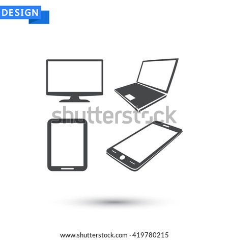 Laptop phone tablet monitor  icon, Laptop phone tablet monitor  pictograph, Laptop phone tablet monitor  web icon, Laptop phone tablet monitor  icon vector, Laptop phone tablet monitor  icon eps - stock vector