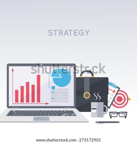Laptop, portfolio, working process. Business development strategy. Modern flat design template.  - stock vector