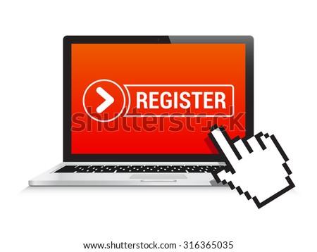 Laptop Register Button - stock vector