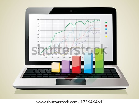 Laptop showing a spreadsheet with some 3d charts over it