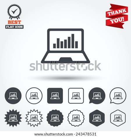 Laptop sign icon. Notebook pc with graph symbol. Monitoring. Circle, star, speech bubble and square buttons. Award medal with check mark. Thank you ribbon. Vector - stock vector
