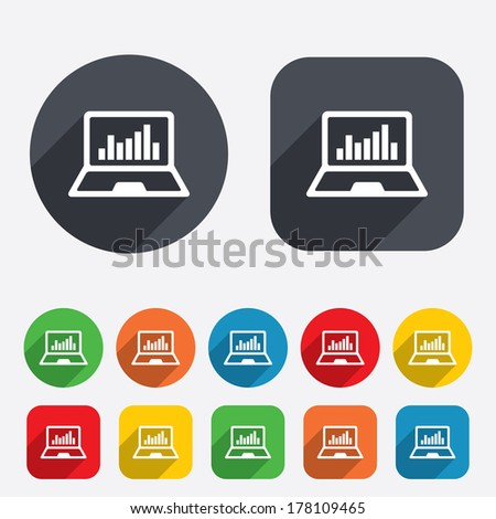 Laptop sign icon. Notebook pc with graph symbol. Monitoring. Circles and rounded squares 12 buttons. Vector - stock vector