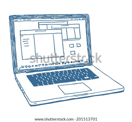 Laptop sketch drawing isolated on white background - stock vector