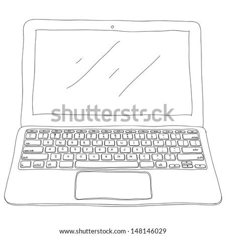 Laptop sketch, eps10, vector - stock vector