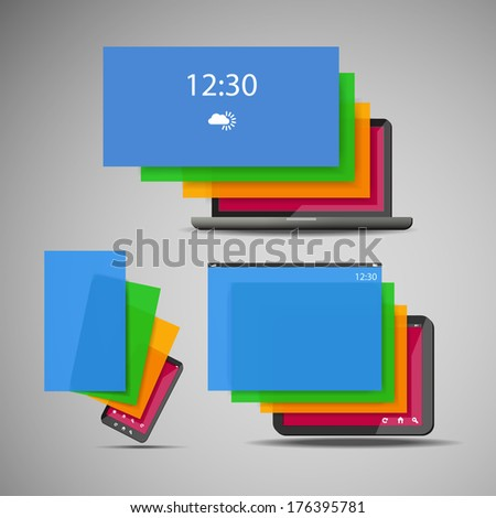 Laptop, Smart Phone, Tablet Icons with Colorful Display Layers - stock vector