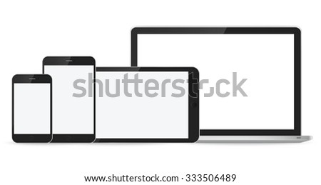 Laptop, smartphone and tablet mockup on white background