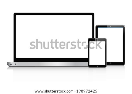 laptop,  tablet and smartphone  set vector - stock vector