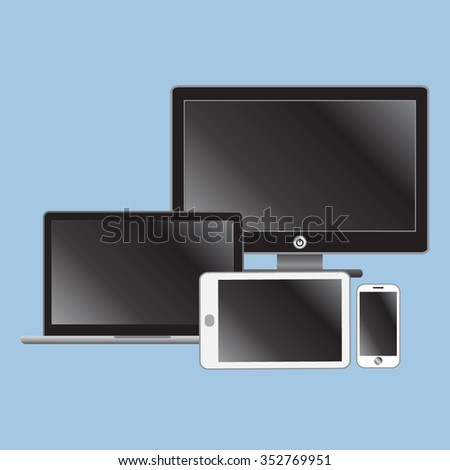 Laptop, tablet computer, monitor and smartphone, vector - stock vector