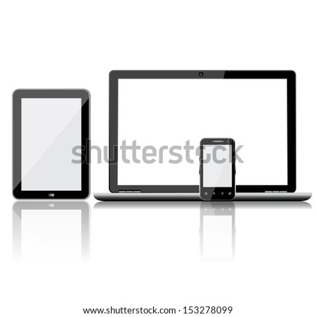 Laptop, Tablet pc and mobile phone  - stock vector