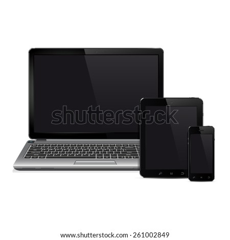 Laptop, tablet pc computer and mobile smartphone. Realistic vector  illustration. - stock vector