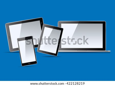 Laptop, tablets and smart phone. Vector Illustration.