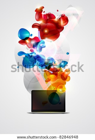 Laptop with abstract elements.