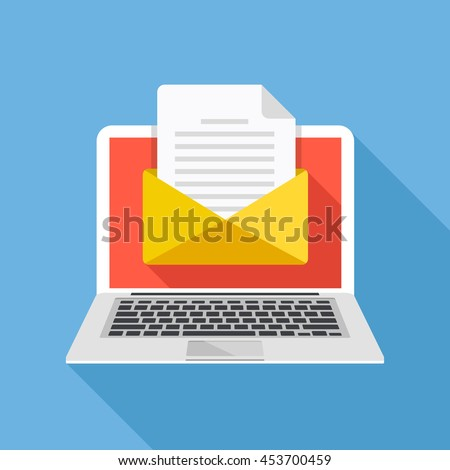 Laptop with envelope and document on screen. E-mail, email marketing, internet advertising concepts. Flat design vector illustration - stock vector