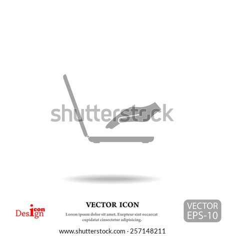 laptop with hand vector icon - stock vector