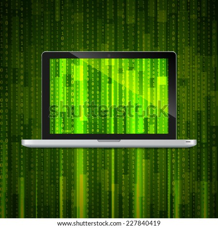 Laptop with matrix background - stock vector