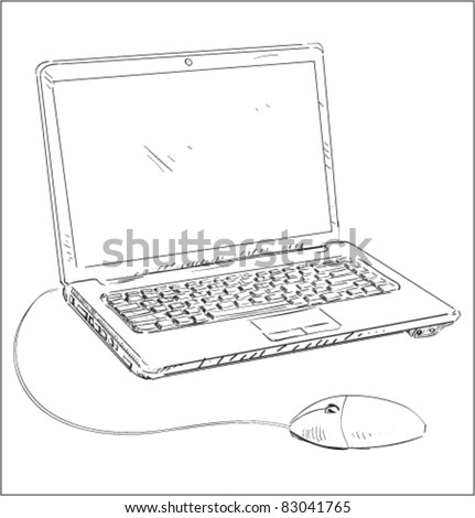 Laptop with mouse cartoon sketch vector illustration - stock vector