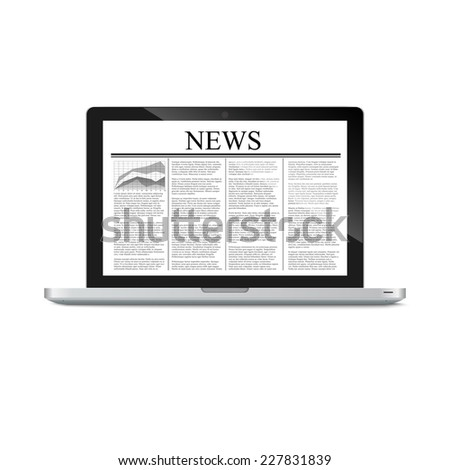 laptop with news article on screen isolated on white. Vector