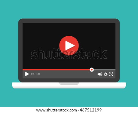 Laptop with online player on the screen. Video tutorials, study and learning concept. Vector flat illustration.