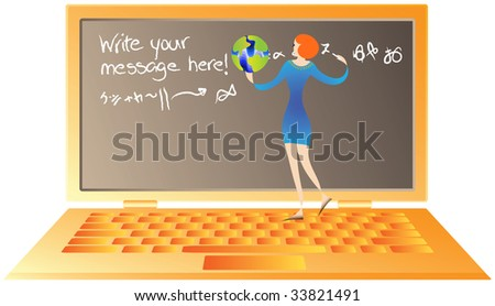 Laptop with teacher holding globe and using chalk to write on the screen/chalkboard