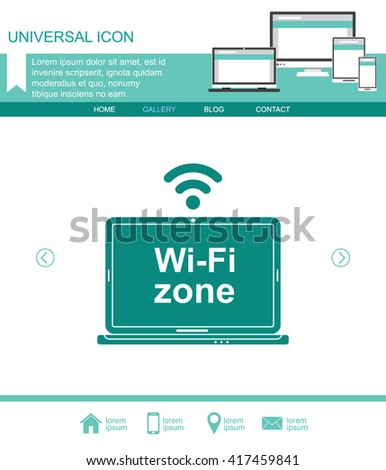 Laptop with Wi-Fi zone label. Vector icon. - stock vector