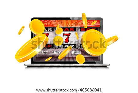 Laptop working as slot machine with gold coins coming out from the screen  - stock vector