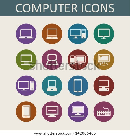 Laptops and computers icons - stock vector