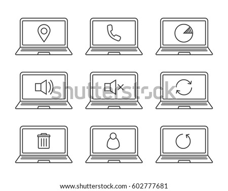 Laptops Linear Icons Set Laptops Gps Stock Vector 602777681