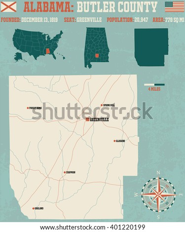 Large and detailed map and infos about Butler County in Alabama.