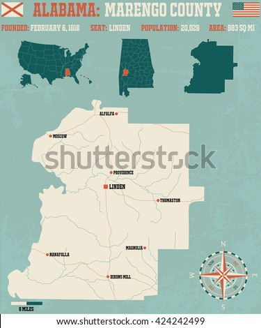 Large and detailed map and infos about Marengo County in Alabama - stock vector