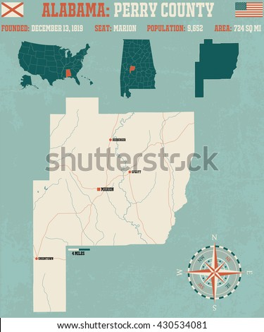 Large and detailed map and infos about Perry County in Alabama