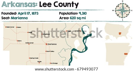 Large Detailed Map Arkansas Lee County Stock Vector HD Royalty Free