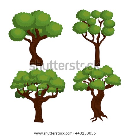 large and leafy tree isolated icon design, vector illustration  graphic  - stock vector