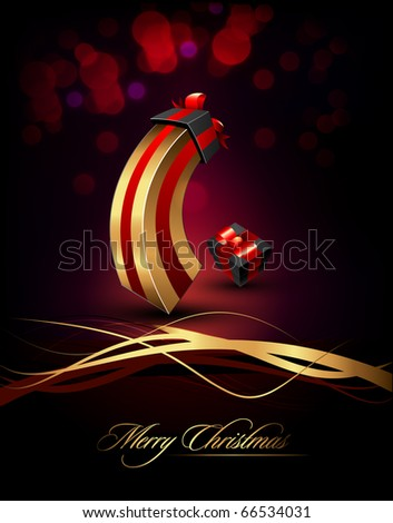 Large and Small Gifts | Present | Elegant Vertical Christmas Card | EPS10 Vector Background | Separated on Layers Named Accordingly - stock vector