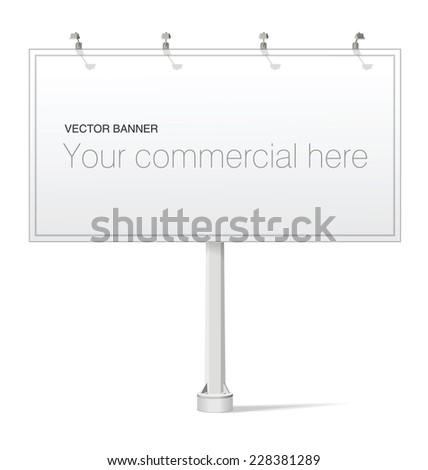 Large blank, empty, white vector billboard screen on white background for you advertisement and design - stock vector