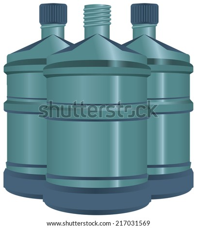 Large bottles of water for use in the office fountains. Vector illustration. - stock vector