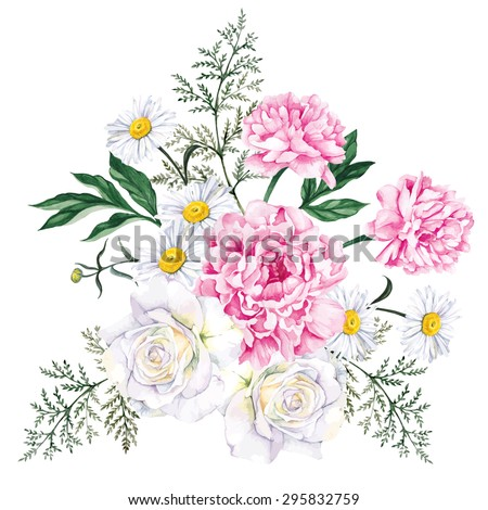 Large bouquet of peonies, roses and daisies. Watercolor, hand painted, isolated on white background. Vector illustration - stock vector