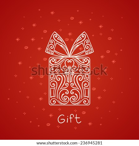 large, bright abstract gift of lines on a red background