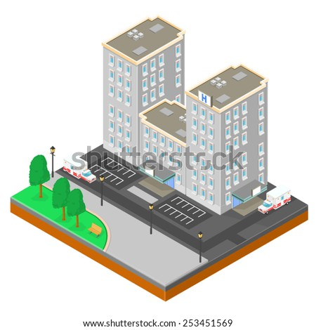 Large city Hospital with Ambulances front and back. Isometric City Hospital. Isometric City Hospital with Ambulances.  - stock vector