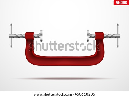 Large clamp compression tool. Conceptual vector illustration - stock vector