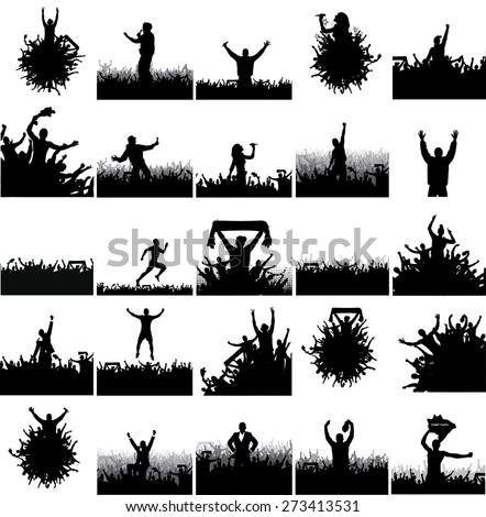 large collection of advertising posters from people silhouettes. - stock vector