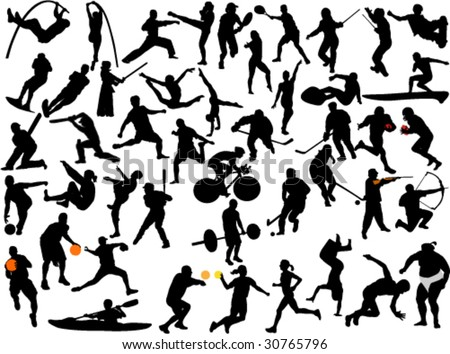 large collection of athletes silhouette - stock vector