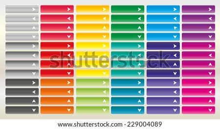 Large collection of bright web buttons with arrow. Combination of all primary colors. Pointer to the left, right, up, down, open, close, next, previous, download. - stock vector