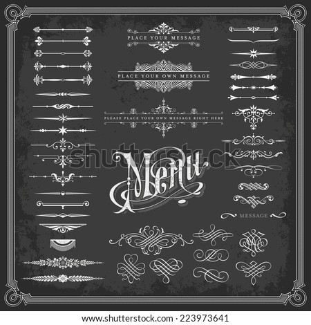 large collection of calligraphic design elements/page decoration on a chalkboard background (textures are removable)