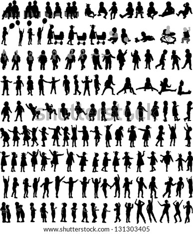 Large collection of children's silhouettes , vector work. - stock vector
